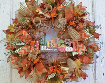 Fall Wreath, Autumn Decor, Deco Mesh Wreath, Harvest Blessing, Orange, Greens, Tan