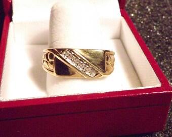 Mens Diamond Ring 10K solid gold (2727FJ)
