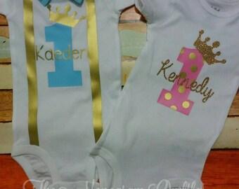 Prince or Princess first birthday bodysuit