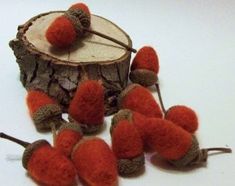 Needle Felted Acorns With Real Caps For Autumn Home Decor