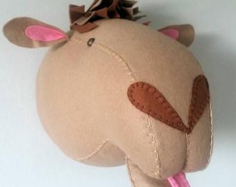 CAMEL - Faux Taxidermy - Felt Wall Mounted Animal Head - Clatence Camel - wall decor.