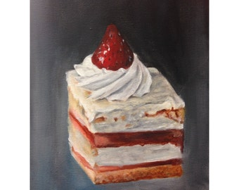 8x10 print of strawberry cake painting