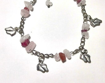 Bracelet for the anklewith chips of Quartz and pink Tourmaline