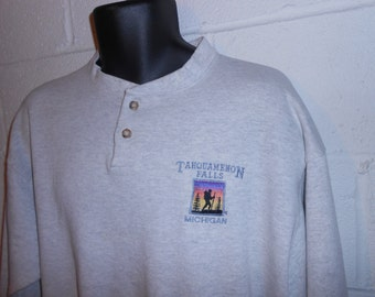Vintage 80s Gray Tahquamenon Falls Michigan 2 Button Sweatshirt 50/50