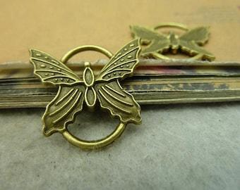 5pcs 25x27mm Antique Bronze Large Butterfly Connectors Links Charms Pendants