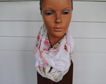 Coral and white upcycled handkerchief infinity scarf sewn from vintage handkerchiefs