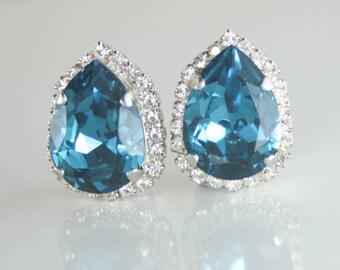Bridal earrings,teal earrings,teal wedding jewelry,teal bride,big crystal earrings,teal crystal earrings,teal fashion,swarovski,clip on,clip