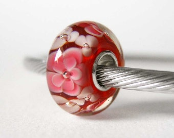 Cranberry Pink Floral Lampwork Sterling Silver European Style Large Hole Bead