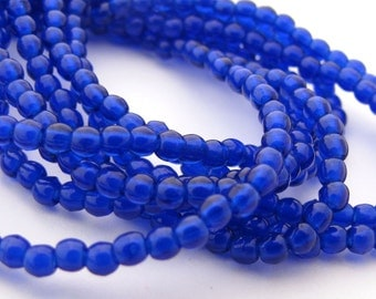 NEW Cobalt Blue 2mm Smooth Round Czech Glass  Beads 100pc #2935