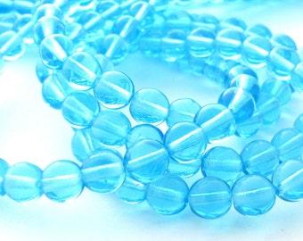 Aquamarine 6mm Smooth Round Czech Glass Beads #2947