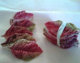 Vintage Millinery Pink Velvet Leaves