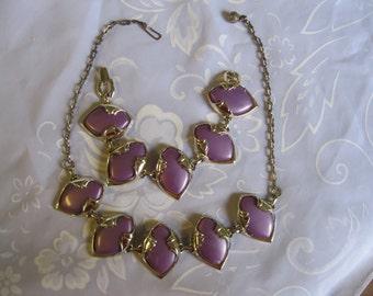 Purple 1950's Moon Glow Thermoset Plastic Necklace and Bracelet