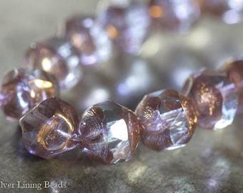 Gilded Hydrangea (10) - Czech Glass Bead - 8mm - Central Cut