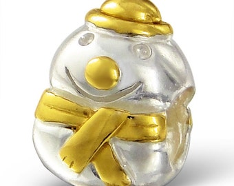18K Gold Vermeil 925 Sterling Silver Christmas Holiday Snowman Bead Charm - BD5102TT-GP
