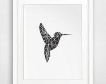 Geometric Hummingbird, Geometric Animal, Black Geometric Bird, Printable Art, Hummingbirds, Printable Animal, Black Hummingbird Print