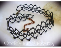 Black tattoo hand tatted lace  choker, handmade choker, hand tatted choker with crystals, black necklace