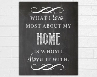 What I Love Most About My Home Print - Chalkboard Sign - Family Sign - What I Love Most About My Home is Who I Share it With - Housewarming