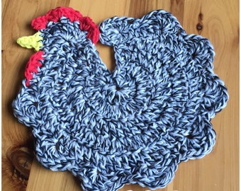 """Set of 2 - 100% Cotton Crocheted Chicken Potholders """"Black/White/Brown Variegated"""""""