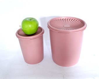 Vintage Pink Tupperware Container Pair - Set of Two