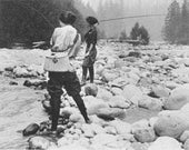 Women fishing at Mount Rainier Photograph (Art Prints available in multiple sizes)