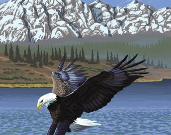 Bald Eagle Diving - Skagit Valley, Washington (Art Prints available in multiple sizes)
