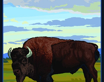 Antelope Island State Park, Utah - Bison and Field (Art Prints available in multiple sizes)