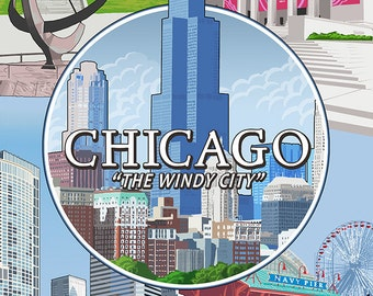 Chicago, Illinois - The Windy City Scenes (Art Prints available in multiple sizes)