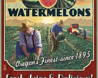 Hermiston, Oregon Watermelon Field Vintage Sign (Art Prints available in multiple sizes)