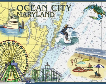 Ocean City, Maryland - Nautical Chart (Art Prints available in multiple sizes)