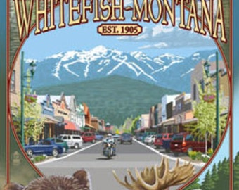 Whitefish, Montana Town Views (Art Prints available in multiple sizes)