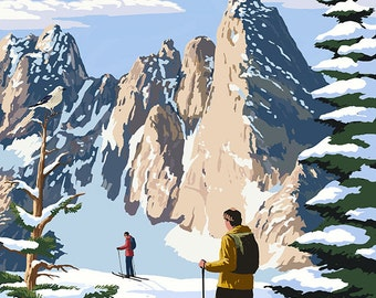North Cascades, Washington - Cross Country Skiing (Art Prints available in multiple sizes)