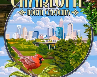 Charlotte, North Carolina - Montage Scenes (Art Prints available in multiple sizes)