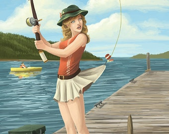 Coeur D'Alene, Idaho - Fishing Pinup Girl (Art Prints available in multiple sizes)
