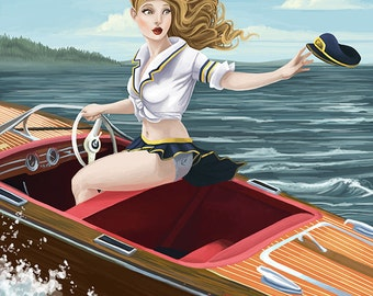 Coeur D'Alene, Idaho - Boating Pinup Girl (Art Prints available in multiple sizes)