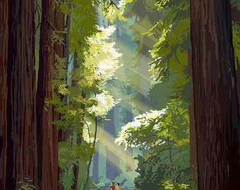 Redwoods State Park - Pathway in Trees (Art Prints available in multiple sizes)