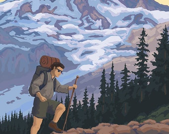 Cascade Mountains, Oregon - Hiking Scene (Art Prints available in multiple sizes)