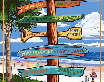 Hunting Island, South Carolina - Sign Destinations (Art Prints available in multiple sizes)