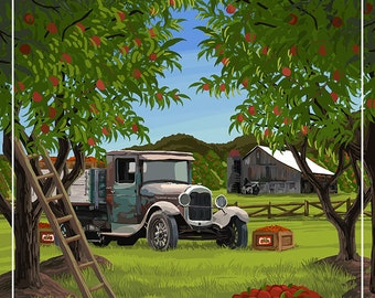 Lake Geneva, Wisconsin - Apple Harvest (Art Prints available in multiple sizes)