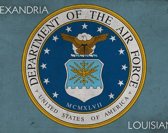 Alexandria, Louisiana - Department of the Air Force - Military - Insignia (Art Prints available in multiple sizes)