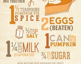Pumpkin Pie Recipe - Typography (Art Prints available in multiple sizes)