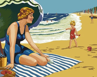Cape Charles, Virginia - Woman on Beach (Art Prints available in multiple sizes)