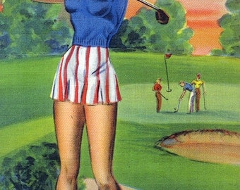 Cape Charles, Virginia - Pin-Up Girls - Winsome; Woman Playing Golf (Art Prints available in multiple sizes)
