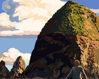 Cannon Beach, Oregon - Haystack Rock (Art Prints available in multiple sizes)