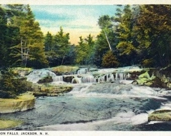 Jackson, New Hampshire - View of Jackson Falls (Art Prints available in multiple sizes)