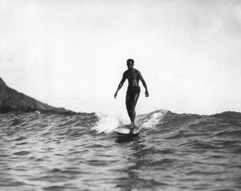 Surfing in Honolulu Hawaii Longboard Surfer Photograph (Art Prints available in multiple sizes)