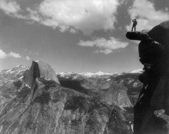 Overhanging Rock and Half Dome Photograph (Art Prints available in multiple sizes)