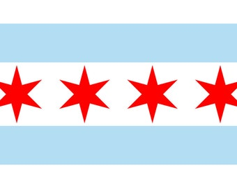 Chicago, Illinois - Flag (Version #2) (Art Prints available in multiple sizes)