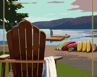 Priest Lake, Idaho - Chairs and Lake (Art Prints available in multiple sizes)