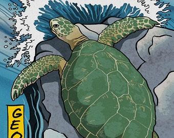 Jekyll Island, Georgia - Sea Turtle - Woodblock Print (Art Prints available in multiple sizes)