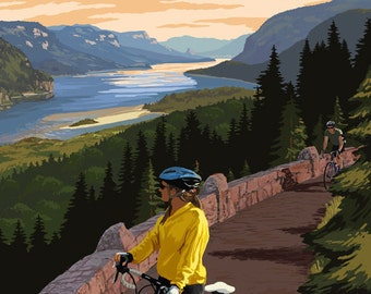 Columbia River Gorge - Bicycle Scene (Art Prints available in multiple sizes)